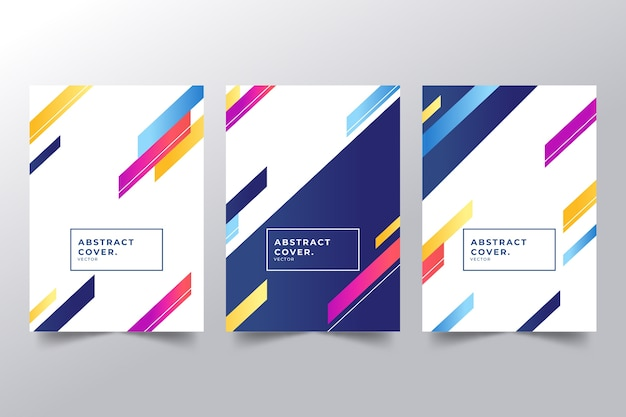 Abstract covers with different colored shapes collection