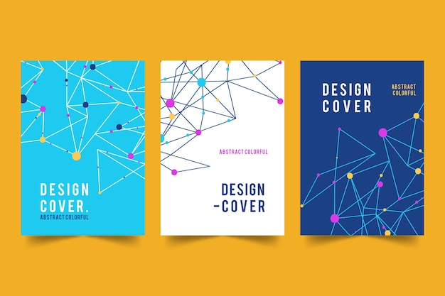 Abstract covers with lines and dots collection