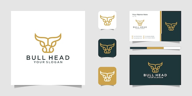 Abstract cow steak premium logo design. creative bull horns line and business card