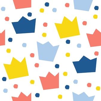 추상 왕관 원활한 패턴 배경입니다. 디자인 카드, 벽지, 앨범, 스크랩북, 휴일 포장지, 섬유 직물, 가방 프린트, 티셔츠 등을 위한 유치한 벽지