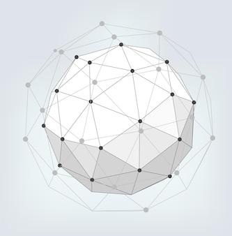 幾何学的な形の抽象的な創造的な背景は、ポイントに接続された線です。ベクトルイラスト。