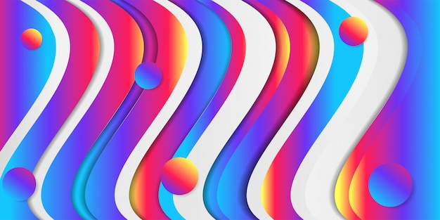 Abstract creative background with fluid colorful gradient design and bright multicolored wavy paper layers