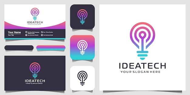 抽象的な創造的な電球ランプのロゴと名刺のデザイン。