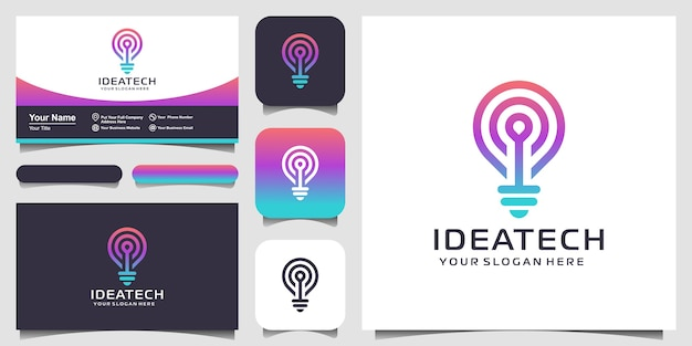 Abstract creative bulb lamp logo and business card design .