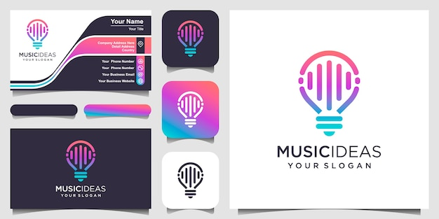 Abstract creative bulb lamp with pulse or wave element, logo and business card design .