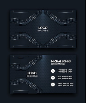 Abstract creative business cards templates in dark color