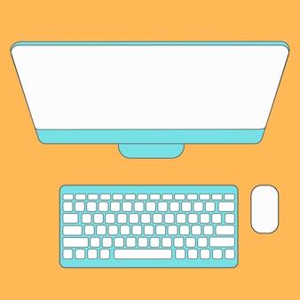 抽象的なクリエイティブコンセプトベクトルの背景。ラインアイコンフラットデザイン要素。コンピューターの現代ベクトルイラストピクトグラム。