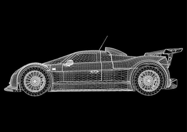 Абстрактный фон вектор творческой концепции 3d модели автомобиля. спортивная машина. Premium векторы