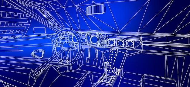 3d車モデルの抽象的な創造的な概念ベクトルの背景。スポーツカー。