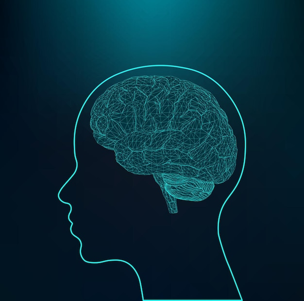 인간의 두뇌 다각형 디자인 스타일의 추상 크리에이 티브 개념 벡터 배경