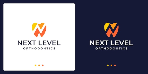 Abstract creative dental logo with investment analytics. vector premium.