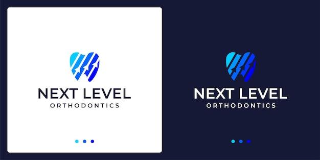 Abstract creative dental logo with up arrow direction. vector premium.