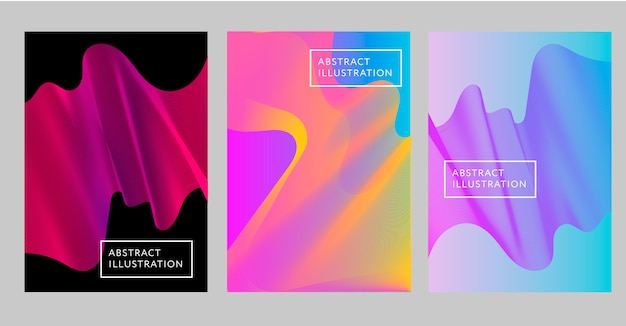 Abstract creative design flow shape liquid background set