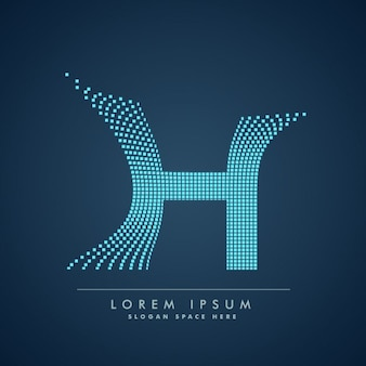 Abstract creative dots logo letter h