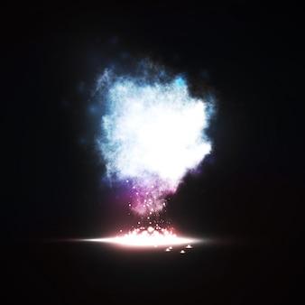 概要。創造的なダイナミックな光の要素、未来的なアートイラスト