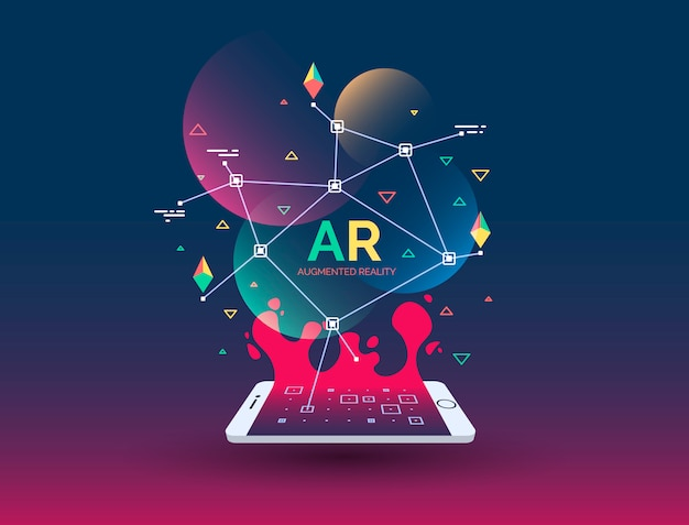 Abstract creative illustration with augmented reality phone, vector illustration