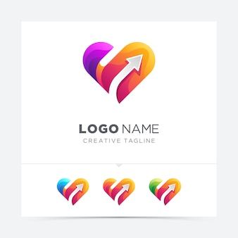 Abstract creative love with arrow logo