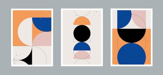 다양한 모양을 가진 추상적이고 창의적인 최소한의 예술과 원형 기하학적 예술 현대적인 배경