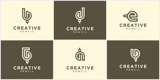 추상 크리에이 티브 연필 기호 로고 컬렉션입니다. 벡터 로고 디자인입니다. 재생 버튼 모양의 연필 마크 연필 로고 디자인