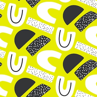 Абстрактный творческий бесшовный образец с яркими неоновыми формами. яркая текстура с геометрическими фигурами. современный красочный повторяющийся принт.