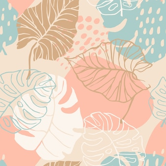 Abstract creative seamless pattern with tropical plants.
