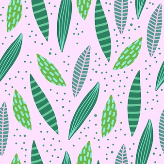 Abstract creative seamless patterns with tropical leaves.