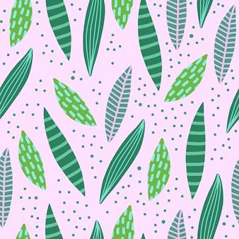 熱帯の葉と抽象的な創造的なシームレスパターン。