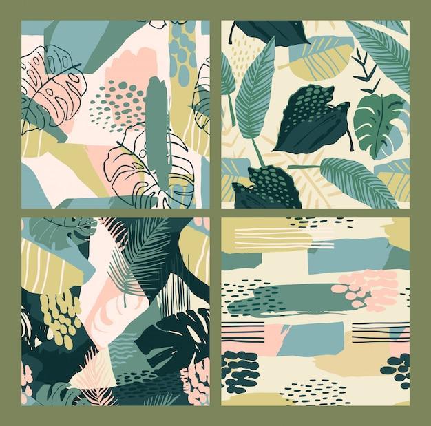 Абстрактные творческие бесшовные модели с тропическими растениями и художественного фона.