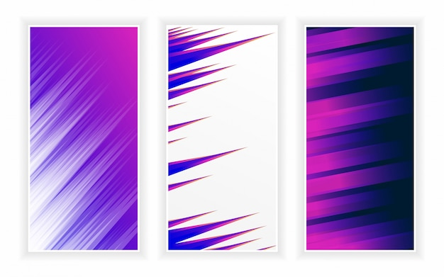 Abstract creative trendy background stylish wavy vertical banners template