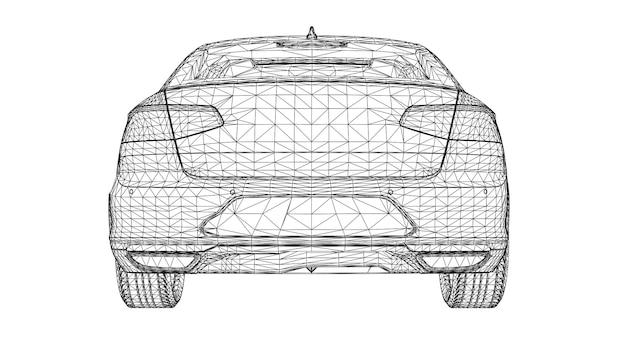 Абстрактный творческий вектор 3d спортивный автомобиль линии, подключенные к точкам.
