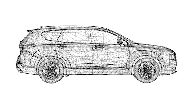 Abstract creative vector car suv large city off-road vehicle lines connected to points.