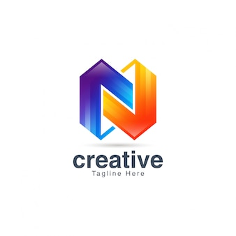 Abstract creative vibrant letter n logo design template