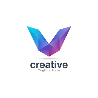 Abstract creative vibrant letter v logo template