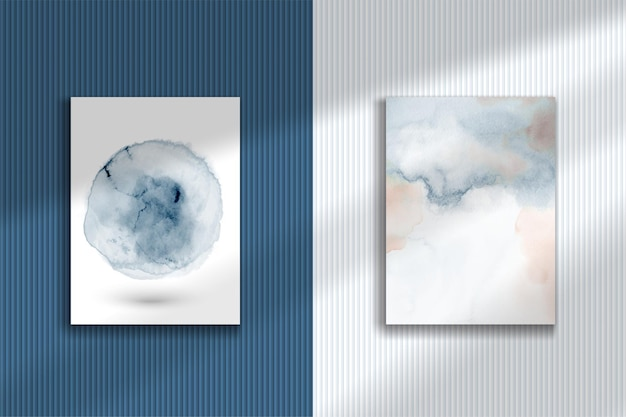 Abstract creative watercolor hand-painted illustration set.