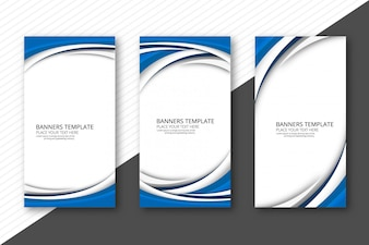 Abstract creative wave banners set template vector
