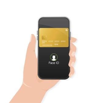 モバイル アプリのデザイン用のスマートフォンを使った抽象的なクレジット カード。スマートフォンを持つ手。