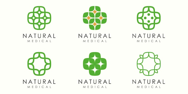 Abstract cross leaf logo icon set natural health design template vector