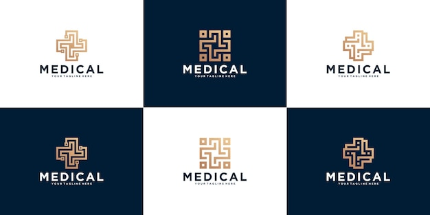 Abstract cross plus medical logo for health, medicine and clinic