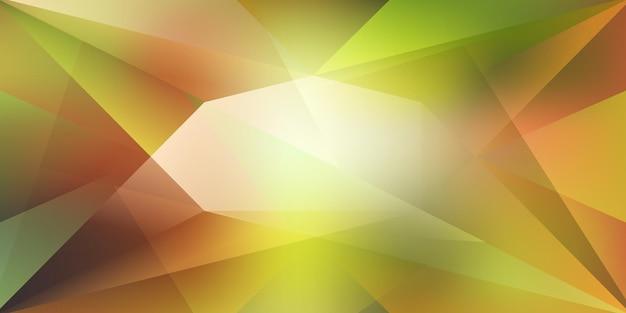 Абстрактный кристаллический фон с преломляющим светом и бликами в зеленых и желтых тонах