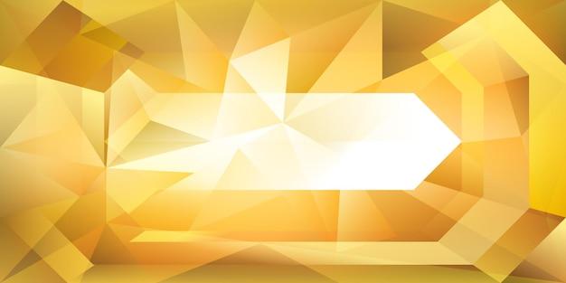 굴절하는 빛과 노란색 및 황금색으로 강조 표시되는 추상 크리스탈 배경