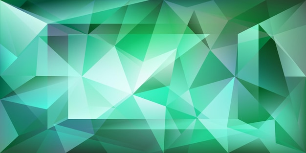 Abstract crystal background with refracting light and highlights in green colors
