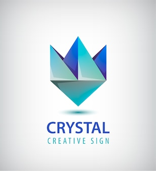 抽象的なクリスタルの幾何学的なロゴ