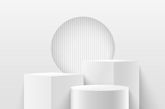 제품에 대한 추상 큐브 및 원형 디스플레이. 3d 렌더링 기하학적 모양 흰색과 회색 색상.