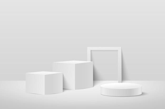 抽象キューブと白で隔離の丸いディスプレイ