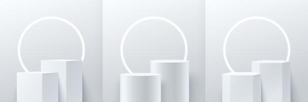 Абстрактный куб и современный круглый дисплей. подиум 3d-рендеринга геометрической формы.