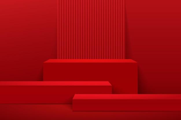 추상 큐브 디스플레이 3d 렌더링 기하학적 모양 디자인.