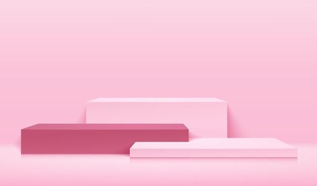 현대 웹 사이트의 제품에 대한 추상 큐브 표시. 연단과 최소한의 질감 벽 장면과 파스텔 배경 렌더링.