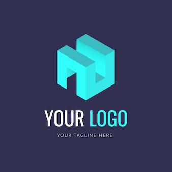 抽象的なキューブのロゴのコンセプト