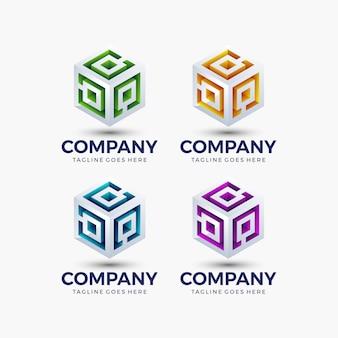 기술, 비즈니스, 회사에 대 한 추상 큐브 모양 밝은 색상. 로고 디자인 템플릿입니다.