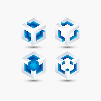 Abstract cube shape bright color for technology, business, company. logo design template.